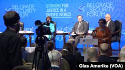 """Panel sesija """"Održiva rešenja za Zapadni Balkan"""" u okviru Beogradskog bezbednosnog foruma, Foto: VOA"""