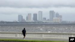 Warga Tampa, Florida berjalan di Bayshore Boulevard, jalanan dekat pantai di Tampa menjelang datangnya badai Isaac (27/8).