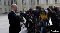 Czech Prime Minister Bohuslav Sobotka speaks to journalists at Prague Castle in Prague, Czech Republic, May 4, 2017.