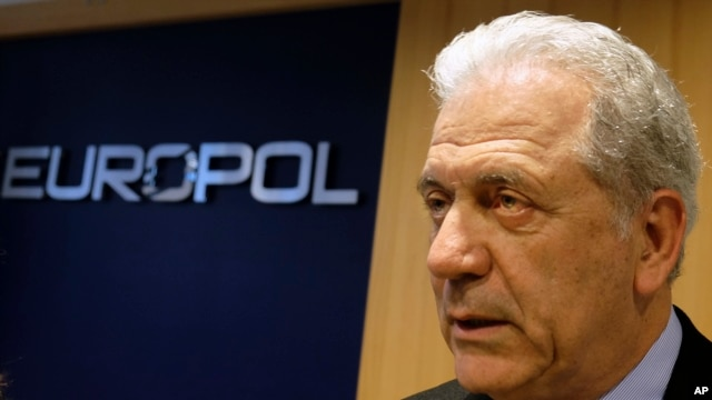 Dimitris Avramopoulos, EU Commissioner for Migration, Home Affairs and Citizenship at the Europol headquarters in The Hague, Netherlands, Feb. 22, 2016.