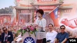 台灣2016年國民黨準總統參選人洪秀柱 (美國之音楊明拍攝)