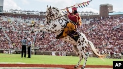 Florida State mascot Osceola riding the horse Renegade celebrates a touchdown in the second half of an NCAA college football game against Syracuse in Tallahassee, Florida, Oct. 31. 2015. Adidas announced an initiative Thursday to help high schools nationwide drop Native American mascots.