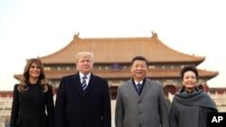 Serok Donald Trump û xanima yekê Melania Trump, serokê Çînê Xi Jinping û xanima wî Peng Liyuan.