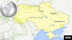 Peta Ukraina yang menunjukkan Kyiev, Debaltseve, dan Kharkiv