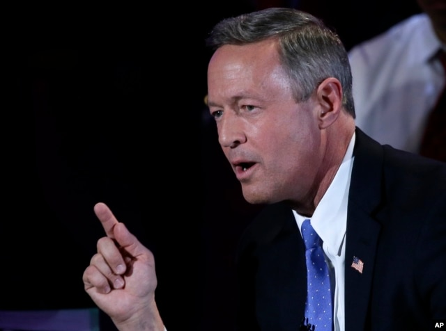 Democratic presidential candidate, former Maryland Gov. Martin O'Malley makes a point during the Brown & Black Forum in Des Moines, Iowa, Jan. 11, 2016.