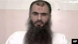 An undated 2005 image made available by the British Prison Service shows Abu Qatada making a televised appeal from Belmarsh high security prison in London.