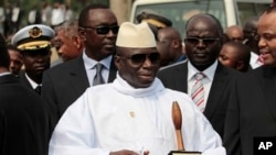 FILE - Gambian President Yahya Jammeh outside Sipopo Conference Center in Malabo, Equatorial Guinea, June, 2011.