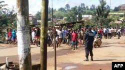 Des manifestants à Bamenda contre les discriminations au Cameroun, le 22 septembre 2017.