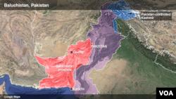 Peta lokasi provinsi Baluchistan, Pakistan (foto: ilustrasi).