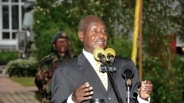 Uganda President Yoweri Museveni addresses the ruling party members in Entebbe, Uganda, April 24, 2012.