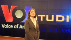 "VOA's Setareh Derakhshesh on the set of her new PNN show, ""Perspectives with Setareh Derakhshesh."""