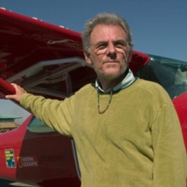 National Geographic Explorer-in-Residence Michael Fay stands in front of a Cessna plane in June, 2004, before his MegaFlyover of Africa.