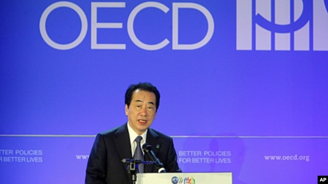 Japan's Prime Minister Naoto Kan delivers a speech at a session of the OECD 50th Anniversary Forum at the OECD headquarters, in Paris, France, May 25, 2011.
