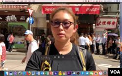 香港民众米歇尔说,她专门光顾支持反送中运动的黄丝餐厅。 (美国之音任新拍摄)