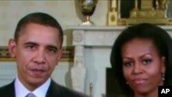 美國總統奧巴馬與第一夫人米歇爾