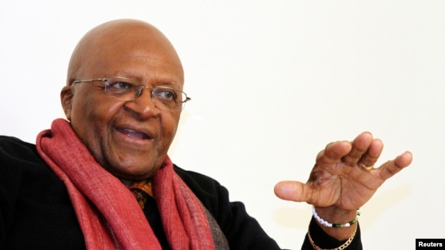South African Archbishop and Nobel Laureate Desmond Tutu speaks during an interview with Reuters in New Delhi, February 8, 2012.