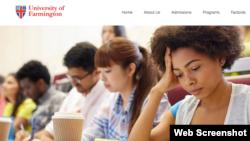 A screenshot of the University of Farmington website