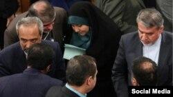 طاهره قیومی در جمع مقامات ارشد دولتی ایران