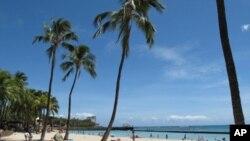 夏威夷旅游圣地威基基海滩