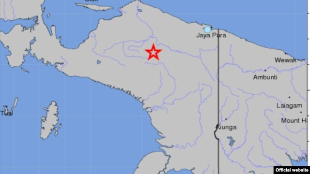 Indonesia earthquake locator map (USGS)