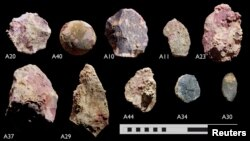 Underwater artifacts dated back thousands of years when the sea bed was dry land, found by researchers from Flinders University, University of Western Australia and James Cook University. (Deep History of Sea Country Project & Flinders University, Maritime Archaeology Program)