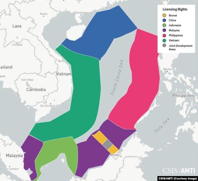 Bản đồ của CSIS cho thấy các khu vực cần có giấy phép khai thác dầu khí trên Biển Đông.
