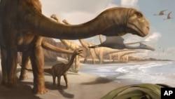 Concepção artística do Angolatitan Adamastor, o dinossauro angolano