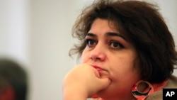 FILE - Azerbaijani Khadija Ismayilova, a reporter for Radio Free Europe/Radio Liberty