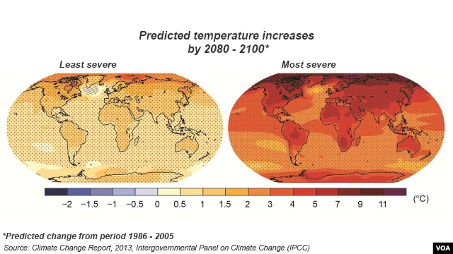 Change in average surface temperature