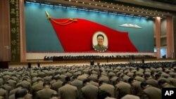 지난 16일 북한 평양에서 열린 김정일 국방위원장 사망 1주기 추모 행사.