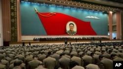 16일 북한 평양에서 거행된 김정일 국방위원장 사망 1주기 추모 행사 장면