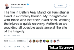 Twitter Perdana Menteri India Narendra Modi yang menyampaikan belasungkawa kepada keluarga kebakaran. (Foto: Twitter)