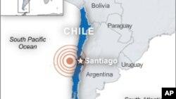 Peta wilayah Chili dan ibukota Santiago.