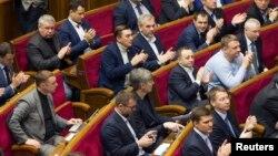 Ukrajinski parlament pozdravlja rezoluciju kojom je Rusija proglašena za državnog agresora, Kijev 27. januar 2015.