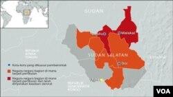 Peta wilayah Sudan Selatan dan daerah-daerah di mana terjadi bentrokan antara pasukan pemerintah dan pemberontak.