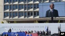 2014年10月5日美国总统奥巴马在美国伤残退伍军人纪念碑华盛顿落成仪上讲话