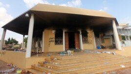 An exterior view of the U.S. consulate, which was attacked and set on fire by gunmen in Benghazi, Libya, on September 12, 2012.
