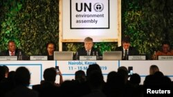 Siim Kiisler, Minister of Environment of Estonia and President of the UN Environment Assembly, flanked by other leaders addresses delegates at the UNEA within Gigiri in Nairobi, Kenya, March 11, 2019.