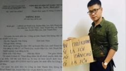 Nhà hoạt động Nguyễn Văn Tráng và quyết định truy nã của Công an Thanh Hóa.