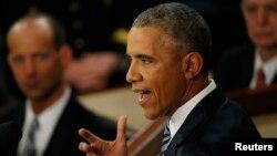 Tổng thống Obama đọc diễn văn về Tình trạng Liên bang trước lưỡng viện Quốc hội ngày 12 tháng 1, 2016.