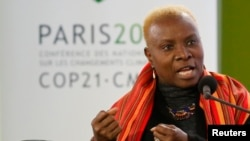 Singer Angelique Kidjo at the World Climate Change Conference 2015 near Paris, France, in 2015.