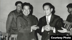This undated photo shows Ieng Sary with Norodom Sihanouk in Phnom Penh, Cambodia. (Documentation Center of Cambodia Archive)
