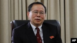 Han Song Ryol, director-general of the U.S. affairs department at North Korea's Foreign Ministry, talks during an interview with the Associated Press in Pyongyang, North Korea, July 28, 2016.