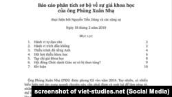 Bản báo cáo của giáo sư Nguyễn Tiến Dũng