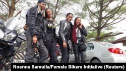 Kelly Jumbo, Jeminat Olumegbon, Kene Okafor, Jo Isiorho; members of the Female Bikers Initiative (FBI), during an awareness ride in Lagos, Nigeria, in 2017.
