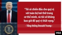 """Tân Tổng thống Mỹ nói: """"Tôi sẽ chiến đấu cho quý vị với toàn bộ hơi thở trong cơ thể mình, và tôi sẽ không bao giờ để quý vị thất vọng."""""""