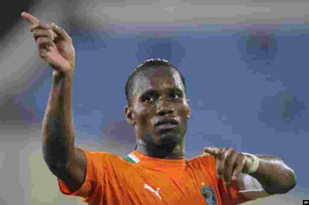 Didier Drogba of Ivory Coast reacts during their quarter-final soccer match against Equatorial Guinea at the African Cup of Nations tournament in Malabo February 4th, 2012.