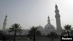 A bird flies over Quba Mosque, the oldest in the world, north of the holy city of Madinah, Saudi Arabia, Jan. 12, 2013.