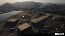 An aerial view shows the 2016 Rio Olympic park in Rio de Janeiro, Brazil, April 25, 2016.