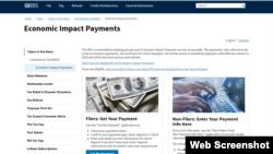 Trang thông tin việc thanh toán tiền cứu trợ kinh tế của IRS.
